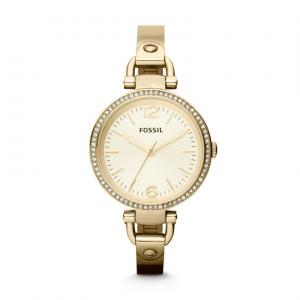 Our favorite watch for the season strikes just the right balance between delicate and daring. Sparkling crystal embellishments and a slim gold-tone bracelet make Georgia a chic timepiece. This Georgia Glitz watch also features a three hand movement.
