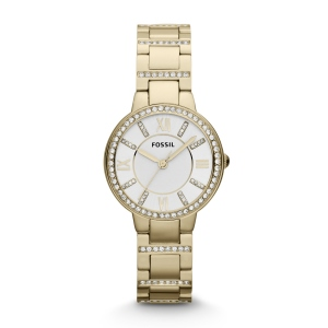 Virginia Three-Hand Stainless Steel Watch Gold-Tone. Shiny steel meets dramatic glitz—made for modern sophisticates and vintage enthusiasts alike, you won't be able to live without our ever-chic Virginia. This Virginia watch also features a three hand movement on a stainless steel bracelet.