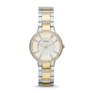 Virginia Three-Hand Stainless Steel Watch – Two-Tone. Shiny steel meets dramatic glitz—our ever-chic Virginia is made for the modern sophisticate.