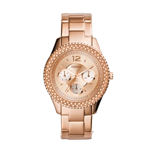 Stella Multifunction Stainless Steel Watch - Rose. Spotlight stealer, statement maker—Stella arrives in an always sophisticated silhouette. Refined with a new dial circled by 92 sparkling stones plus a polished steel bracelet, it's a go-to wrist essential that's effortlessly elegant.