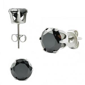 Stunning Stainless Steel Earring Stud With Black Round CZ Stone.