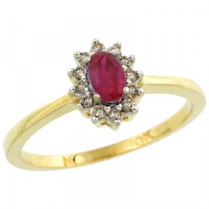 Halo Engagement Created Ruby Ring with Brilliant Cut Diamonds & Oval Cut Stone