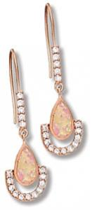 Lab Opal Pear Shape Drop with Rose Gold Tone and Clear CZ on Fish Hook