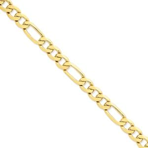 Semi- Solid Figaro Necklace, Approximate width 3.5MM -- This delicate bracelet is melded in 14 karat yellow gold and features a simple and delectable link arrangement that will ensure this one becomes a mainstay in your jewelry collection.