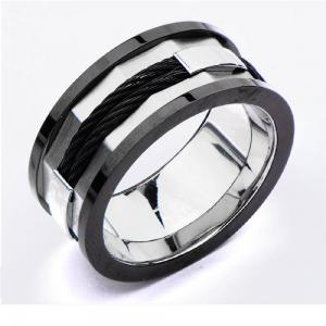 Men's Stainless Steel Ring with IP Black Lines and Black Cables.