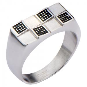 Men's Stainless Steel Black Oxidized Ring Flatform on Top with Checkered Design.