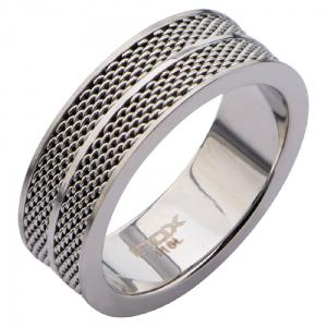 Men's Stainless Steel Polish Finished Ring with Two Rows of Mesh Design going round.