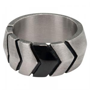 Men's Stainless Steel and IP Black Oxidized Rings.