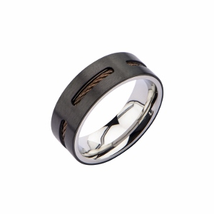 Men's Stainless Steel Black IP with Brown Cable Inlay Ring.