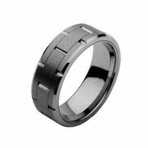 Men's Stainless Steel Tungsten Carbide and Ceramic Ring.