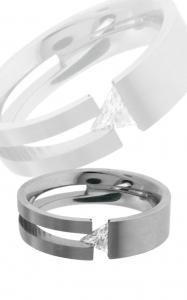 Stainless Steel Ring with Triangle Cubic Zirconia