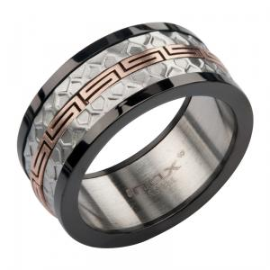 Men's Stainless Steel IP Rose Gold Greek Key Matte and Polished Ring.