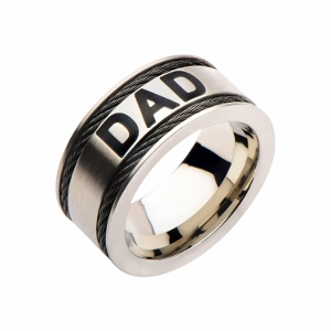 Men's Stainless Steel with Cable Inlayed Classic DAD Ring.