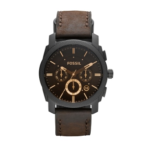 Machine Mid-Size Chronograph Brown Leather Watch--Make a statement with this dramatic timepiece featuring a brushed stainless steel black IP case and a brown leather strap. This Machine Mid-Size watch also features a chronograph movement.