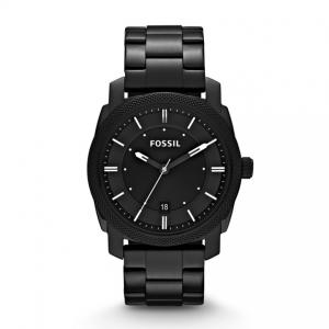 In masculine black-on-black, our industrial-inspired Machine watch will add a fresh, modern touch to your casual look. This Machine watch also features a three hand movement on a stainless steel bracelet.