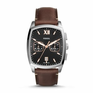 Dual Time Brown Leather Watch-A handsome companion for the man about town, Knox revels in the early 20th-century artistry boasting a classic tonneau-shaped case and Roman numeral hour marker.