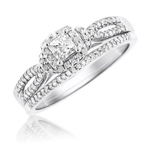 14KT GOLD 0.51 CTTW PRINCESS-CUT DIAMOND BRIDAL SET
