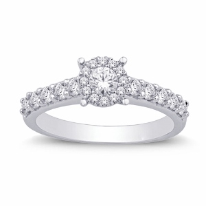 0.86 c.t.w Diamond Fashion Engagement Ring with 0.25 carat center diamond in 14 Karat White Gold