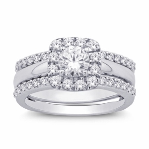 Crafted from 14K white gold, this dazzling ring enhancer features twinkling diamonds weighing approximately 0.90 c.t.w. Brighten her finger with this exquisite diamond enhancer Bridal. The Center stone weight is 0.25ct.
