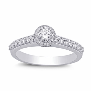 0.65 c.t.w Diamond Fashion Engagement Ring with 0.33 carat center diamond in 14 Karat White Gold