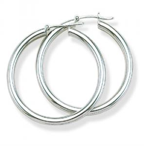 Plain Shiny Round Silver Hoop Earrings