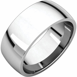 14 Karat White Gold 8 MM Light Comfort Fit Band