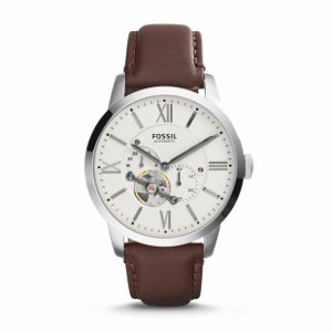 Automatic Brown Leather Watch--Desk, dinner, daily commute—think of Leather Watch as your best-dressed essential.