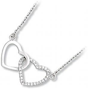 Plain and Clear CZ Double Heart with 2 Inch Ext.