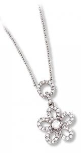 Circle and Flower Necklace with Clear CZ