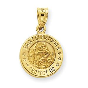 14 Karat Gold Saint Christopher Charm                     -                                                     This 14K gold charm features a picture of St. Christopher carrying the child Jesus on his back and has a polished and satin finish. He is the patron saint of travelers.
