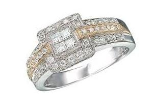 1/2 Carat Total Weight Diamond Engagement Ring. Round and Invisble set Princess cut Diamonds