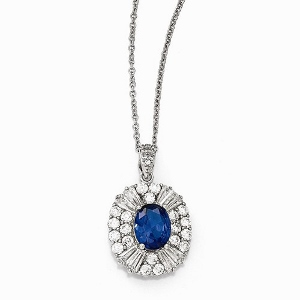 Sterling Silver CZ and Synthetic Blue Spinel 18in. Necklace
