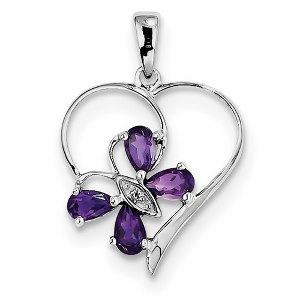 Sterling Silver Rhodium Amethyst and Butterfly Heart Pendant