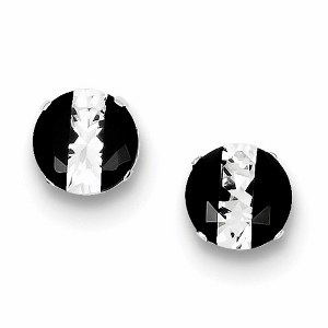 Sterling Silver Black and White Colored CZ  Round Post Earrings