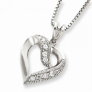 Sterling Silver CZ Heart Pendant on 16 Box Chain Necklace