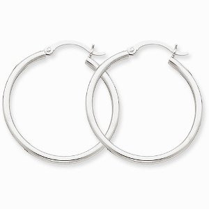10k White Gold 2mm Hoop Earrings
