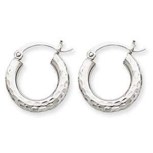 10k White Gold Diamond-cut 3mm Round Hoop Earrings.