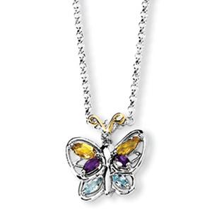 Beautiful butterfly pendant is sure to be noticed by everyone,this pendant features multicolor oval-shaped gemstones crafted in sterling silver