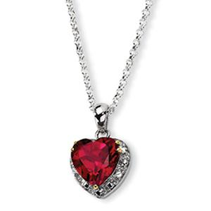Sterling Silver & Crimson Red Topaz & Diamond Necklace.Add color and shine to any ensemble with this beautiful gemstone necklace.