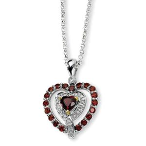 Express your love in a vibrant and original way. With this amazing heart-shaped garnet pendant, show her your adoration goes beyond the everyday.