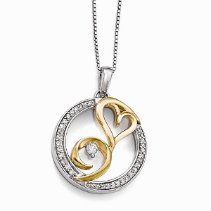 Sterling Silver & 14k Gold Arms of Love Diamond Pendant with 0.20 ct Total Weight Diamond.