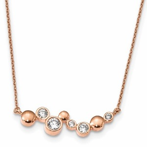 Sterling Silver Rose Gold-plated CZ Necklace