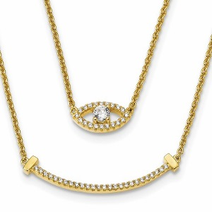 Sterling Silver Gold-tone Double Strand CZ Eye Necklace