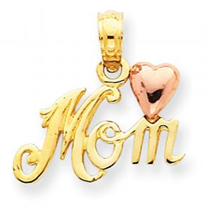 14kt Two-Tone Polished Mom with Heart Pendant