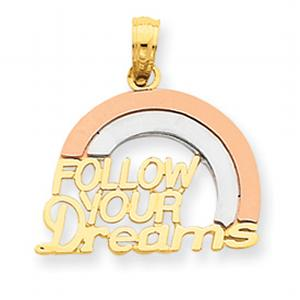 14kt Tri-color Follow Your Dreams Rainbow Pendant