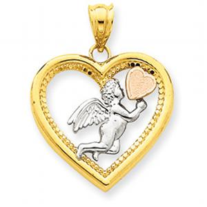 14Kt Yellow, Rose and Rhodium Angel Heart Pendant
