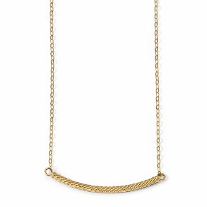14k Polished Textured Bar Necklace in 18 inches chain