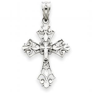 14kt White Gold Filigree Cross Charm
