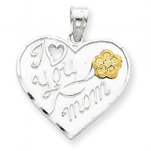 Sterling Silver I Love You Mom Heart Charm Pendant, Latest and new Sterling Silver Necklace