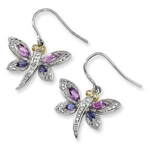 These dangle earrings feature a dragonfly design with Amethyst and Diamond